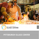 Screenshot of Pittsburgh Glass Center mobile home page