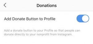 donate button on profile